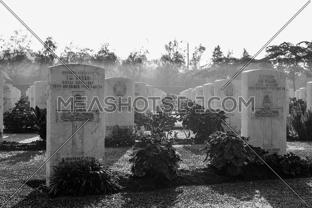 Cairo, Egypt - December 7, 2016: Heliopolis Commonwealth War Cemetery, contains 1742 burials of the Second World War, opened in October 1941
