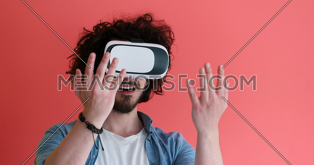 young man using VR headset glasses of virtual reality 167824