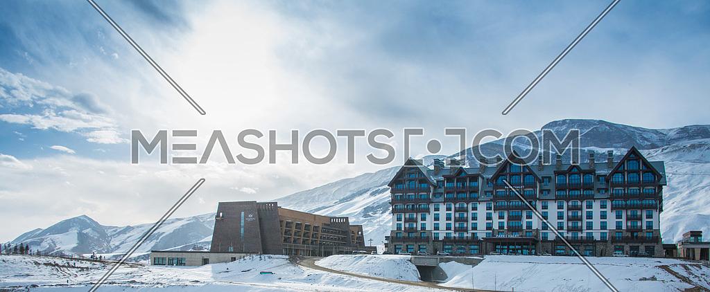 Shahdag - FEBRUARY 8, 2015: Tourist Hotels on February 8 in Azerbaijan, Shahdag. Shahdag has become a popular tourist destination for skiing in Azerbaijan.