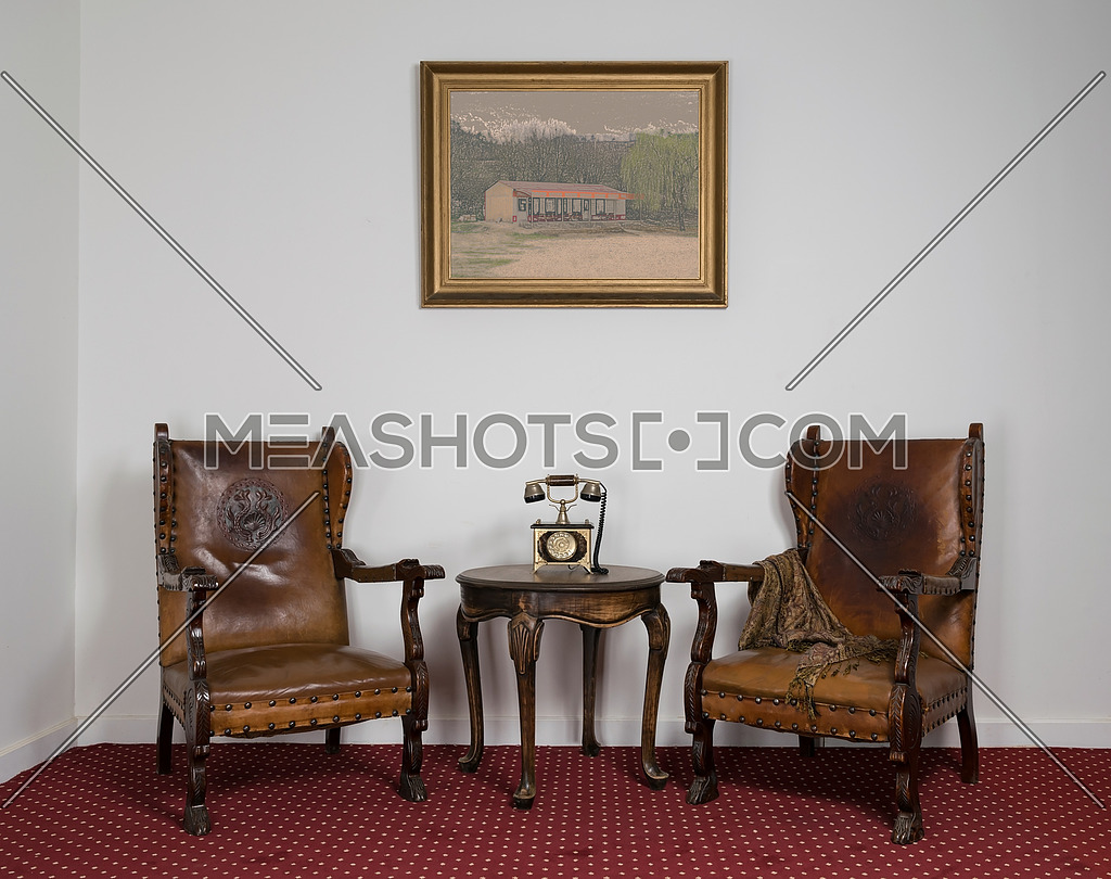 Composition Of Two Wooden Armchairs Old 41834 Meashots