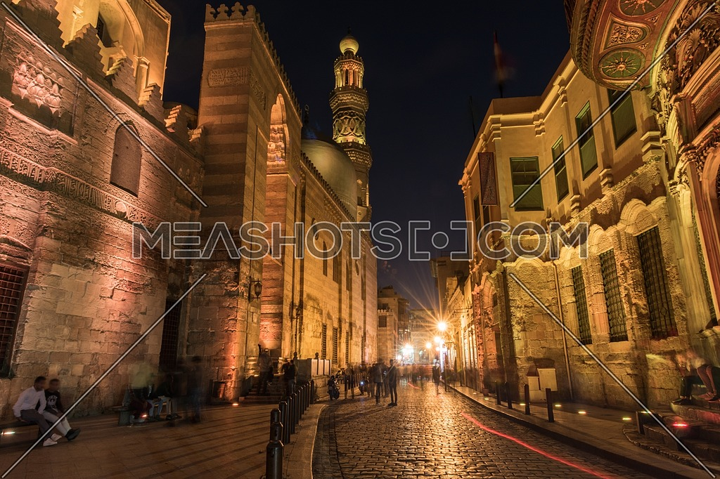 Long shot for El Moez Street in old Cairo city at night
