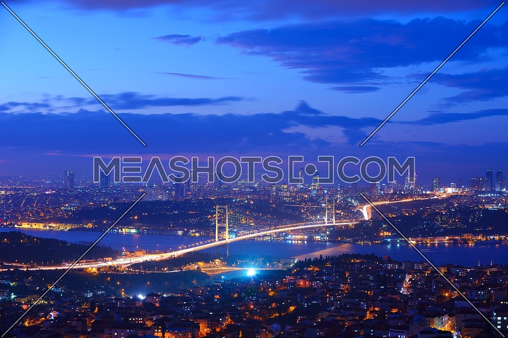 Istanbul Turkey Bosporus Bridge on sunset