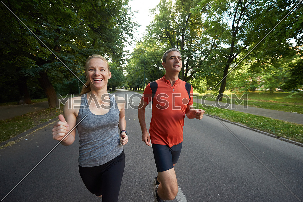 urban sports healthy couple jogging