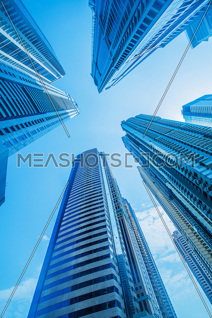 High skyscrapers of Dubai blue-toned