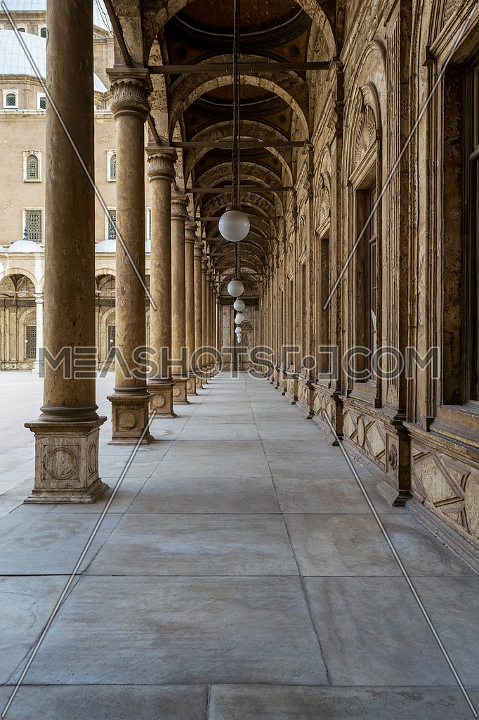 Passage surrounding the courtyard of The Great Mosque of Muhammad Ali Pasha - Alabaster Mosque - Citadel of Cairo, Egypt