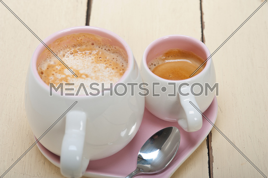 espresso coffee served on a pink heart shaped dish