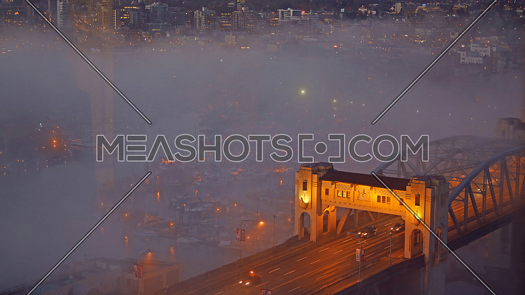 Morning sunrise fog over Vancouver city