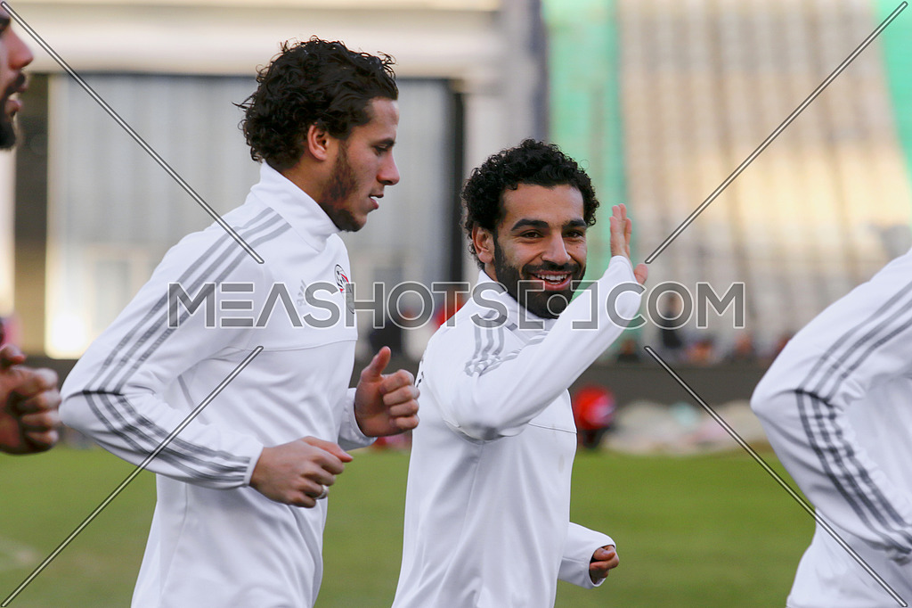 Mohamed Salah and Ramadan Sobhy during training for Egypt national football team on January 7 2017  محمد صلاح و رمضان صبحي اثناء التمربن
