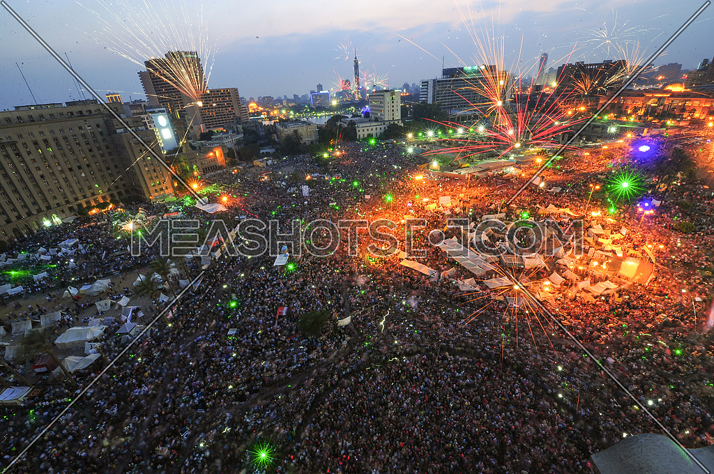 Egyptians celebrate Tahrir Square with the departure of the deposed president Mohamed Morsi on July 3, 2013, which was carried out by the Egyptian army