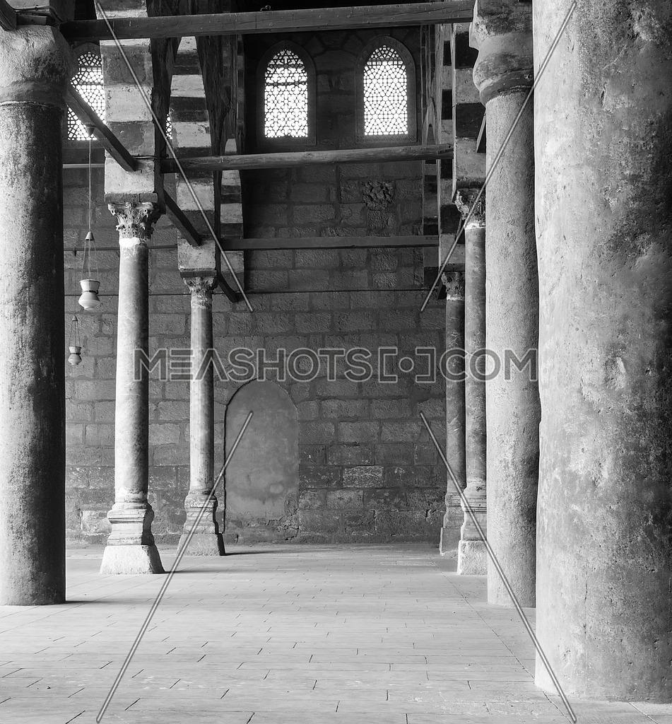 Corridor at historic Mosque of Sultan al Nasir Muhammad Ibn Qalawun, Citadel of Cairo, Egypt