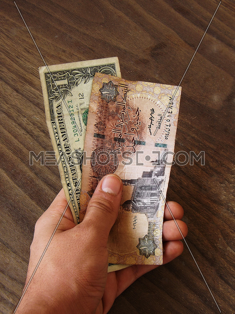 male hand holding 1 dollar and 1 egyptian pound on wooden background