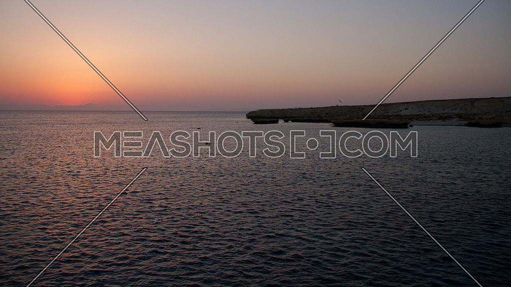 sun set over an island on the Red Sea in Egypt