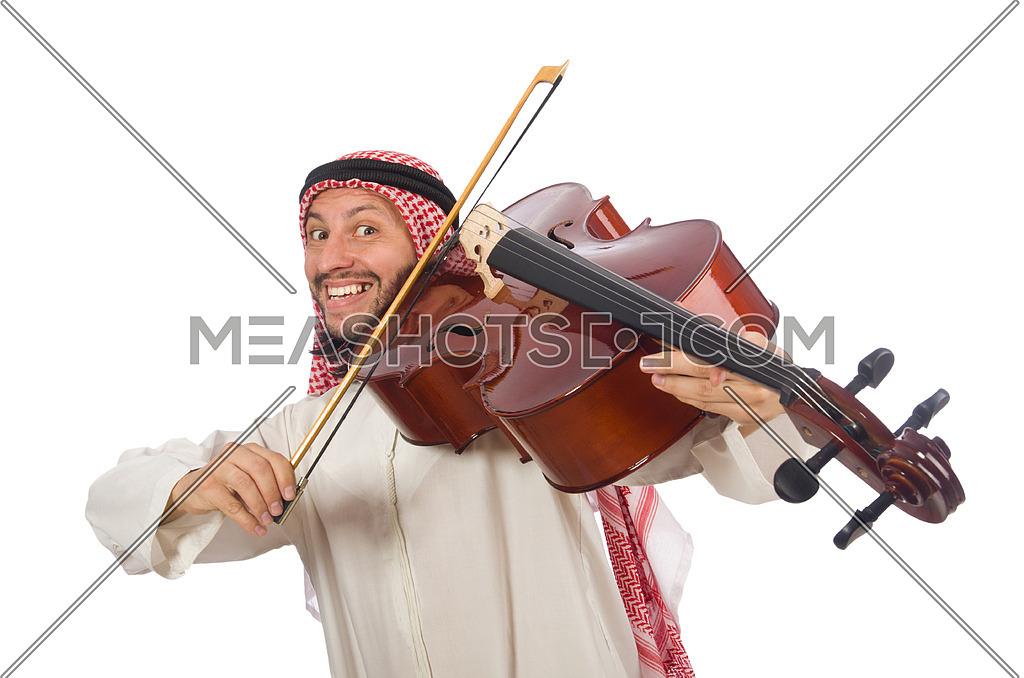 Arab man playing musical instrument
