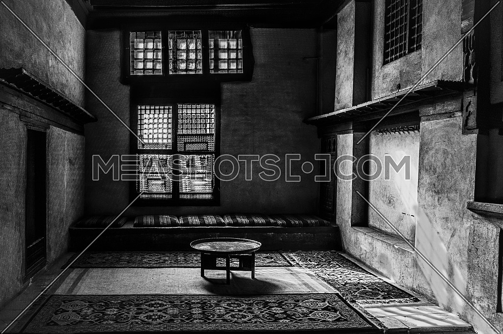 interior oriental seating areaEl Sehemy housein black and white