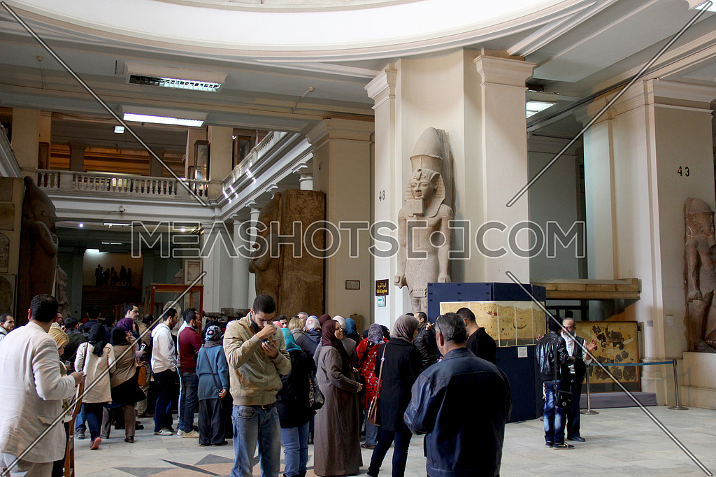 a photo for the entrance of Egyptian museum in Cairo showing some monuments, statues , might have an editorial value in case of covering tourism news