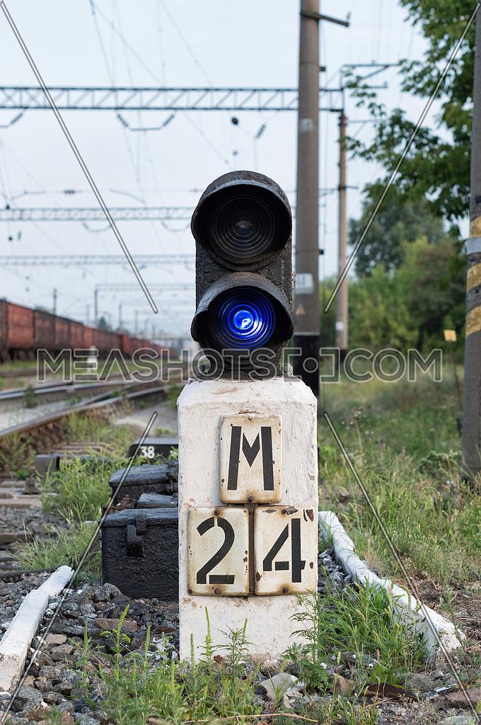 Blue semaphore on the railway