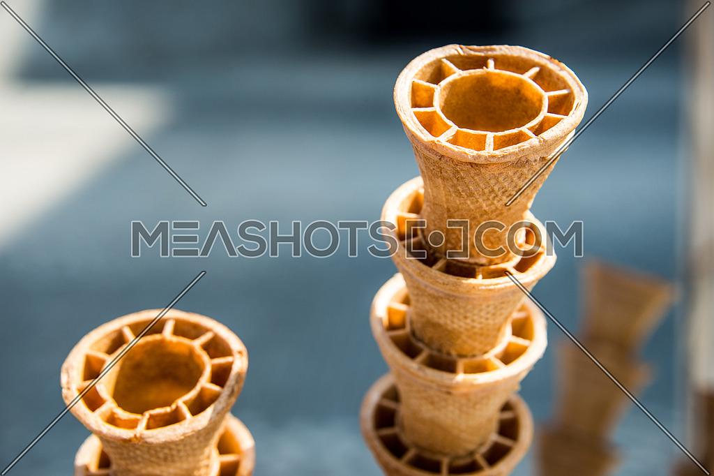 empty ice cream biscuit cone