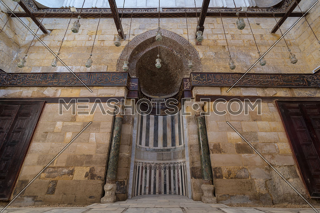 Interior of Mausoleum of al-Salih constructed by As-Saleh Nagm Ad-Din Ayyub in 1242-44, Al Muizz Street, Old Cairo, Egypt at day