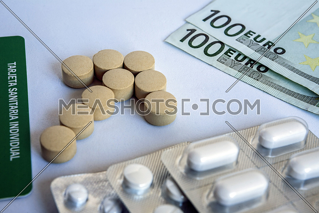 concept of pharmaceutical copayment, health insurance card