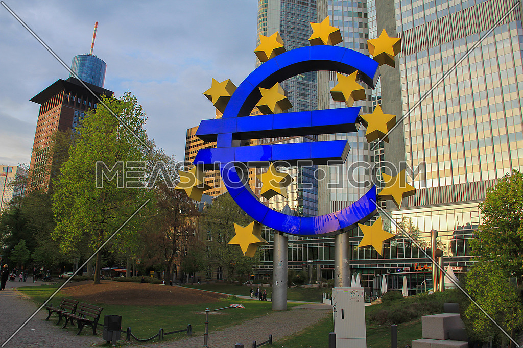 Euro sign in urban Frankfurt Germany
