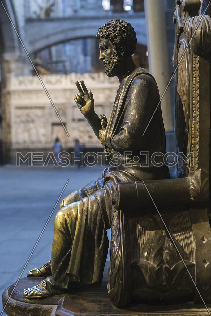 Avila, SPAIN - 10 august 2015: Sculpture in bronze of St. Peter enthroned, is distinguished by having key on left arm, unknown author, Cathedral of Ávila, Spain