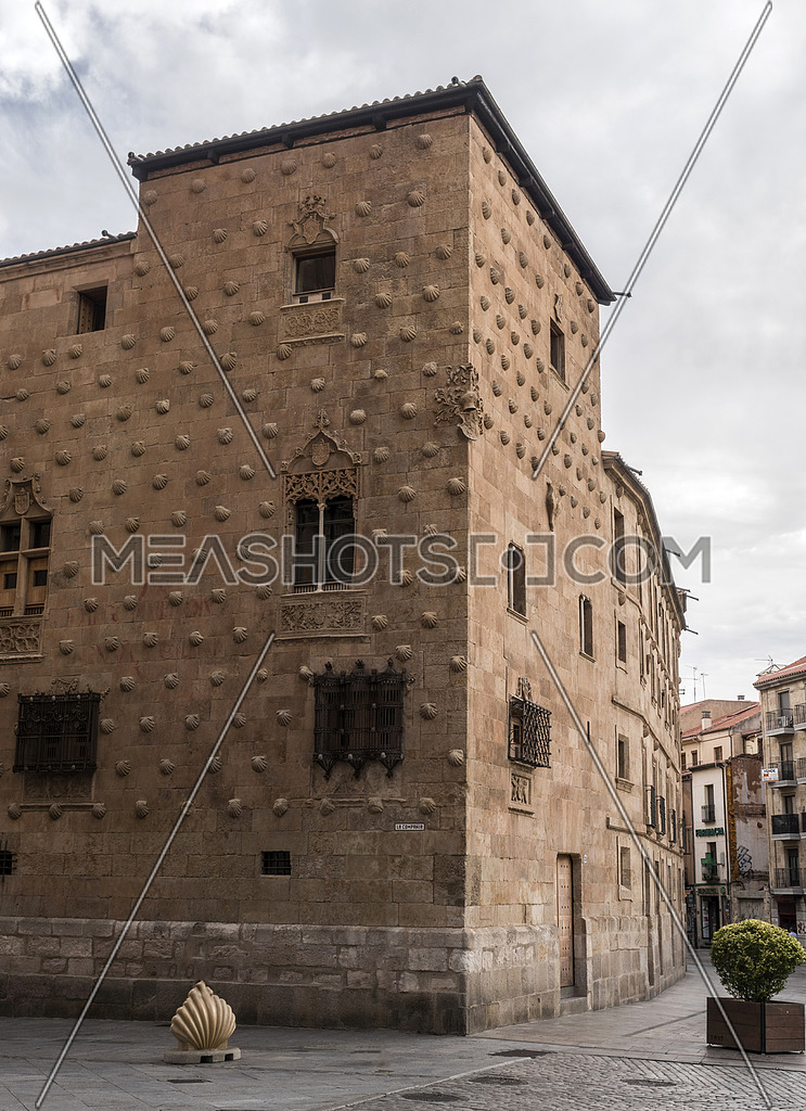 Salamanca, España: August 18, 2019: House of Shells (Casa de las Conchas) in Salamanca, Spain. The architecture includes Gothic, Moorish and Italian styles, take in Salamanca, august 18, 2019