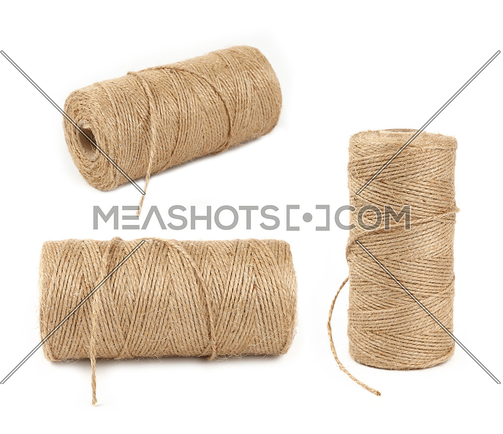 Burlap jute twine coil bobbins isolated on white-165895