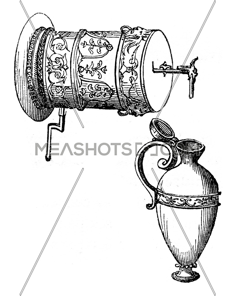 The barrel of the liquid layer to provide a square vase below, vintage engraved illustration. Magasin Pittoresque 1847.