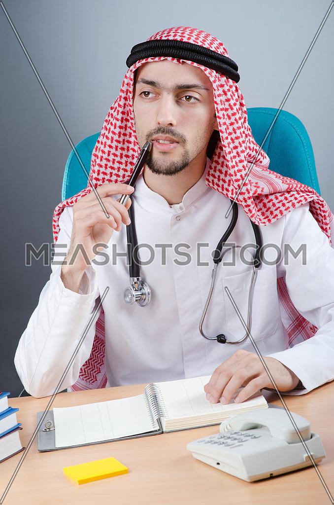 Arab doctor working in hospital