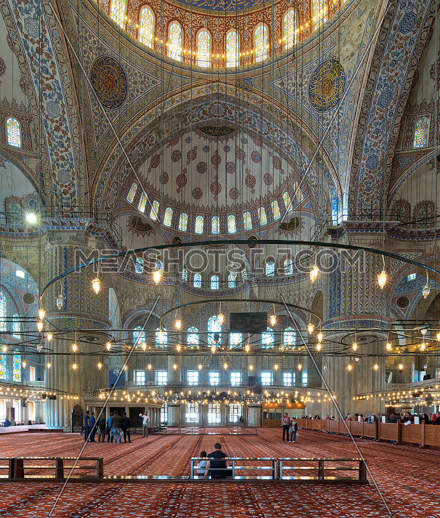 Interior of Sultan Ahmed Mosque (Blue Mosque), Istanbul, Turkey