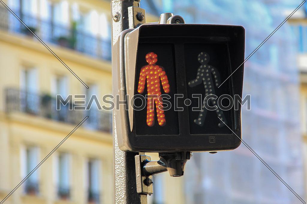pedestrian Stop signal in an urban street