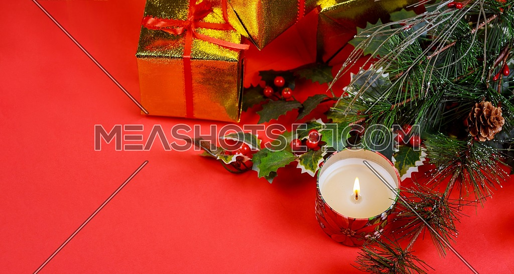 Christmas Gift With Holiday Decorations Light Background