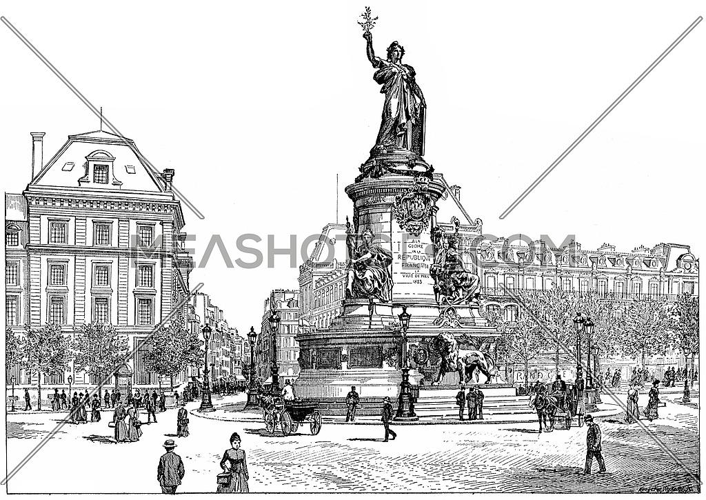 Republic Square, vintage engraved illustration. Paris - Auguste VITU – 1890.
