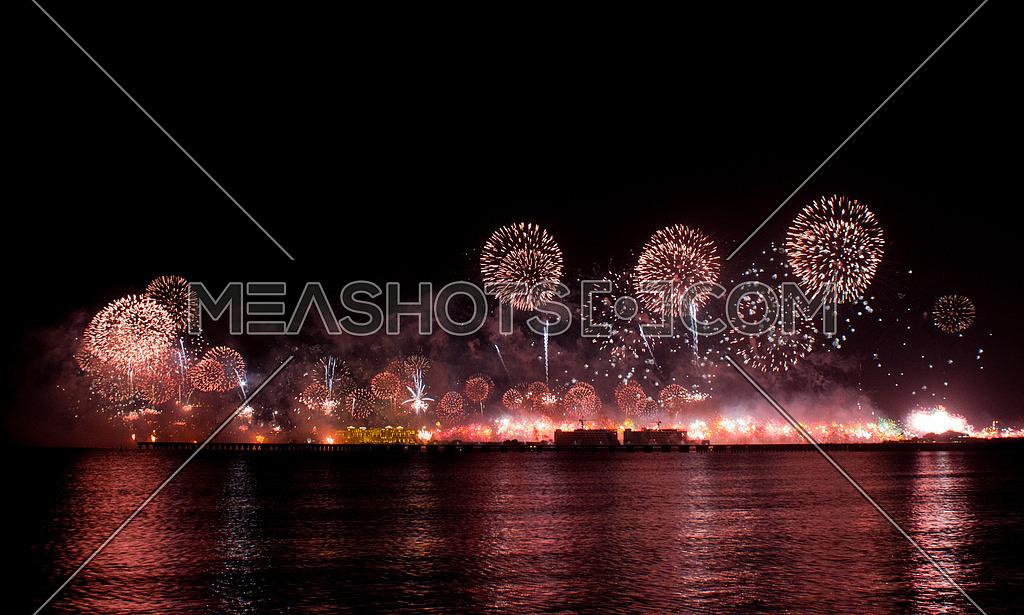 New Year eve fireworks inThe Palm Dubai