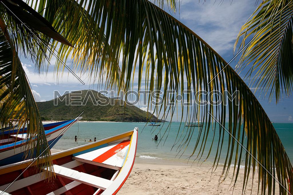 the beach Playa Pedro Gonzalez in the town of Pedro Gonzalaz on the Isla Margarita in the caribbean sea of Venezuela.