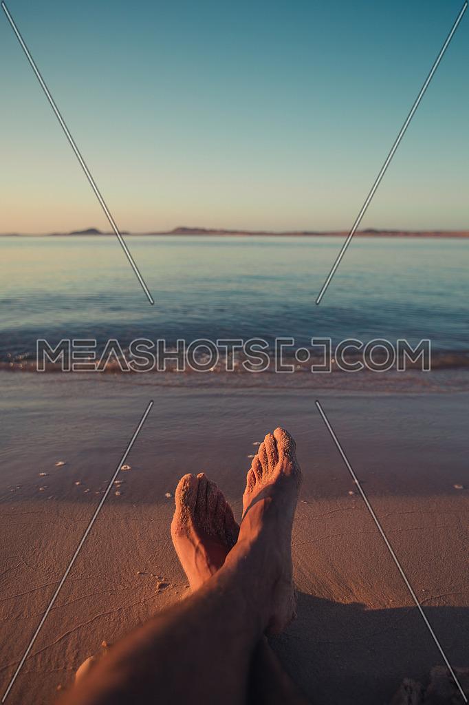 Relaxing on the beach in ras mohamed, Egypt
