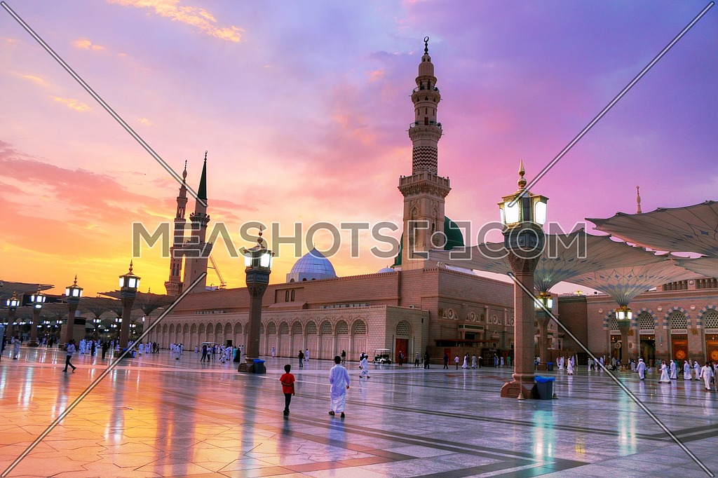Panorama Shot for Al Masjid an Nabawi Mosque in Saudi Arabia by dusk