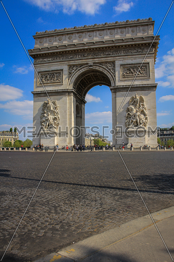 Arch de triumph in Paris with blue sky and some clouds