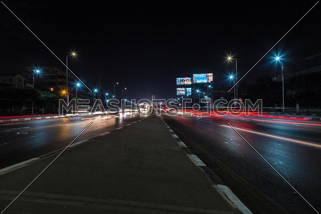 Long Shot for traffic at Salah Salim Street both sides at Night