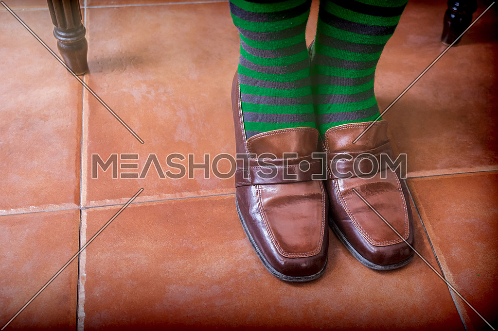 Young with vintage socks and shoes