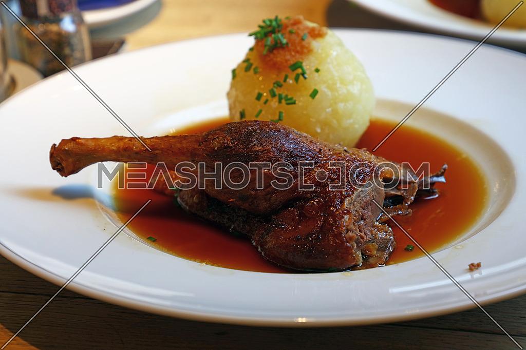 Portion Of Duck Confit Leg Dumpling And Gravy 214796 Meashots