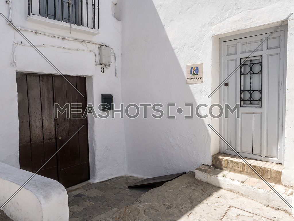 Whitewashed Andalusian typical house of white lime in Vejer de la Frontera, Cadiz, Spain