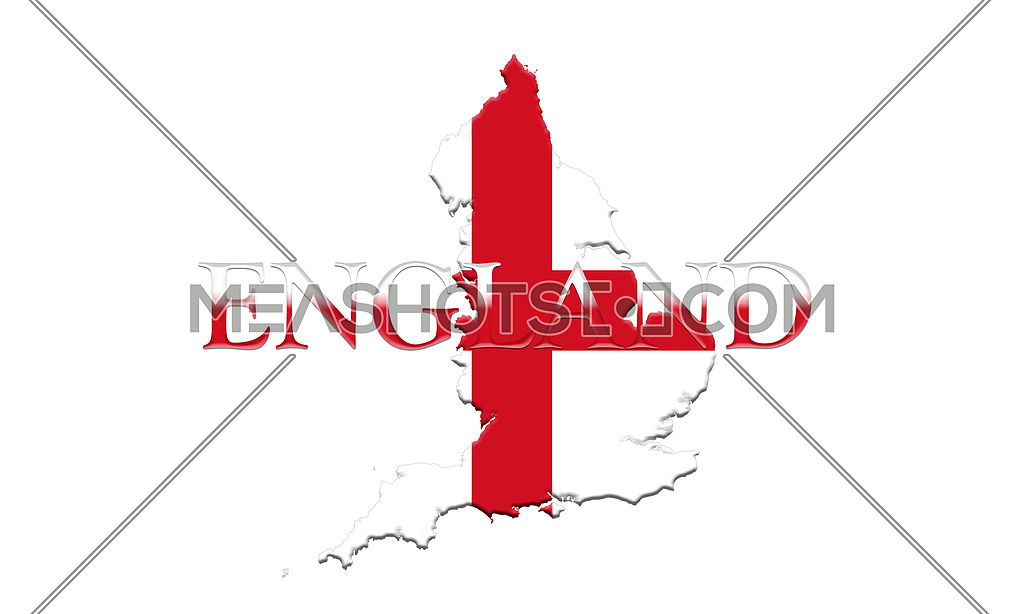 3d Map Of England.Flag Of England With Map And Country Name On It On It 3d Illustr