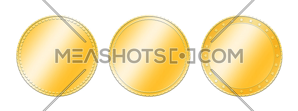 photo for close up three different golden metal blank coins template