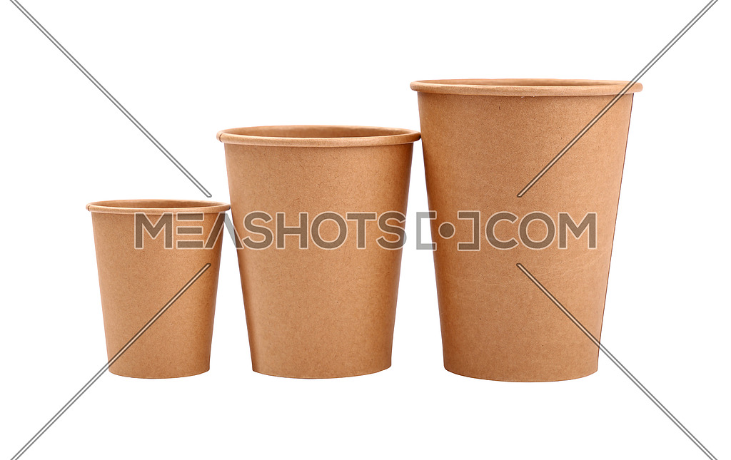 Three Brown Paper Parchment Coffee Cups Isolated 185217