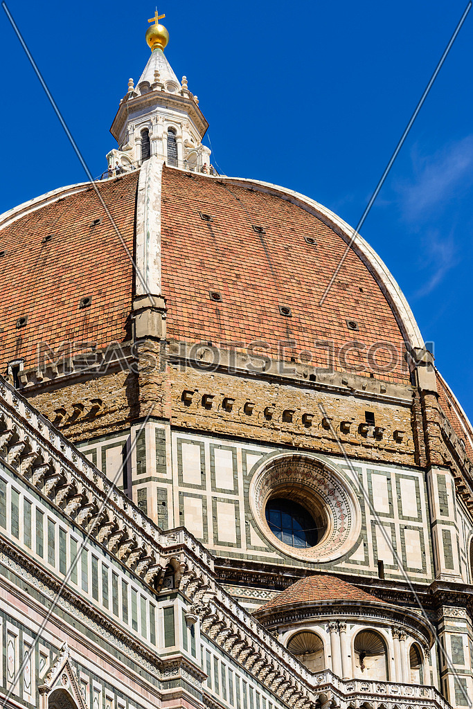 In the photo the dome of Florence Cathedral close up.
