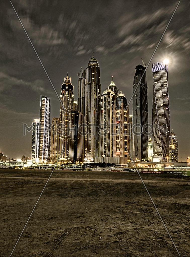 Dubai Marina towers stylised image shot on (20 Apr 2016)