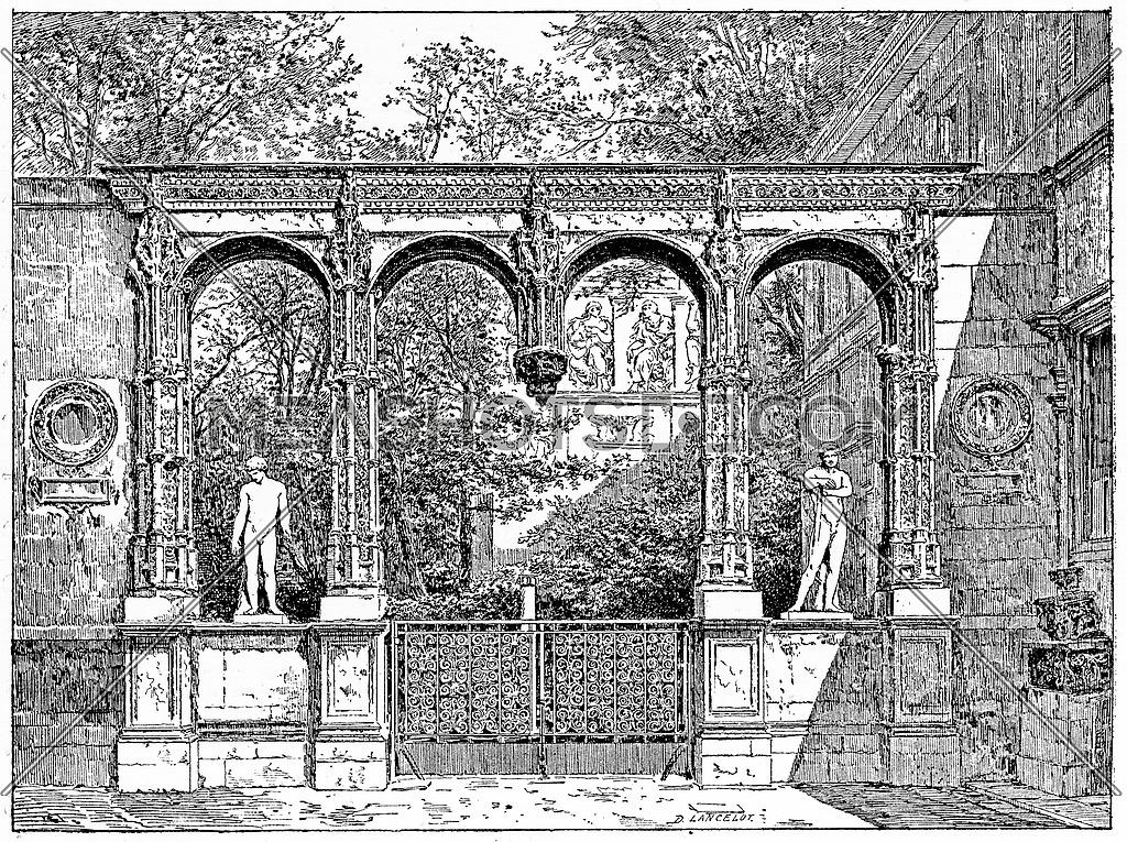 The garden of the School of Fine Arts, vintage engraved illustration. Paris - Auguste VITU – 1890.