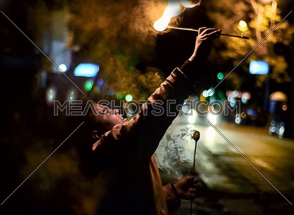 street circus fire boy