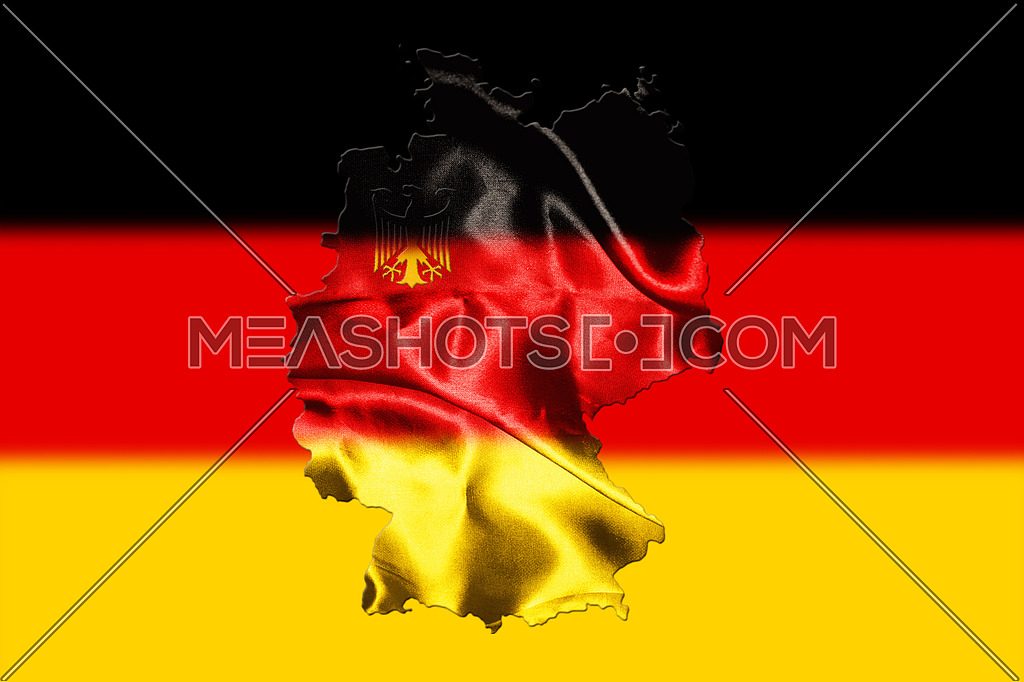 Map of Germany with national flag on background